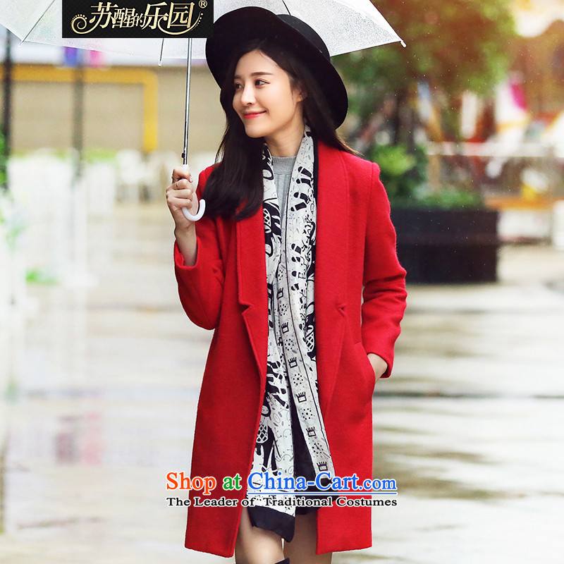 Park woke up to 2015 winter clothing new Korean women in long hair?? coats red jacket styleS