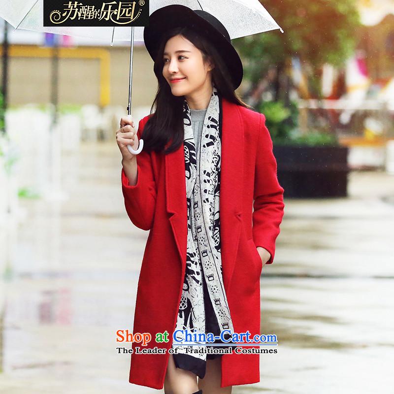 Park woke up to 2015 winter clothing new Korean women in long hair?? coats red jacket style燬