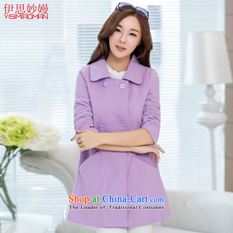Ms. Man Ka Bo Mya League 2015 autumn and winter New Sau San video lapel thin coat a wool coat female y111 light violet聽L