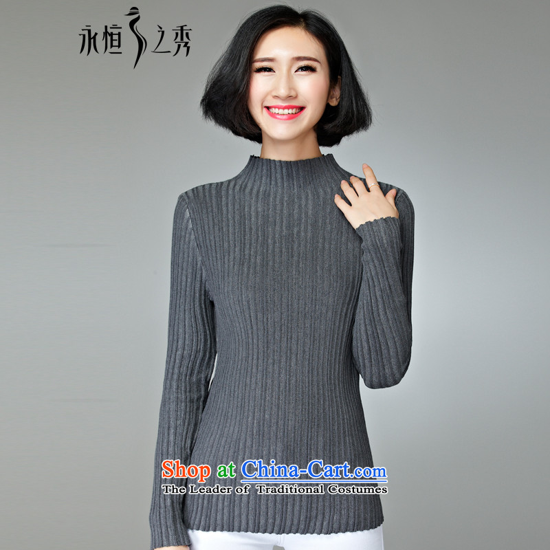 The Eternal Soo-to increase women's wear shirts code 2015 Fall/Winter Collections of new products Korean knitwear high Neck Sweater kit and Ms. thick solid sister who shirt Gray 4XL