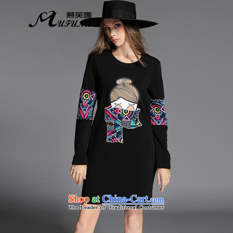 The Europe and improving access 2015 autumn and winter new plus lint-free large thick female thick mm cartoon stamp forming the long-sleeved dressesZ-2151black4XL