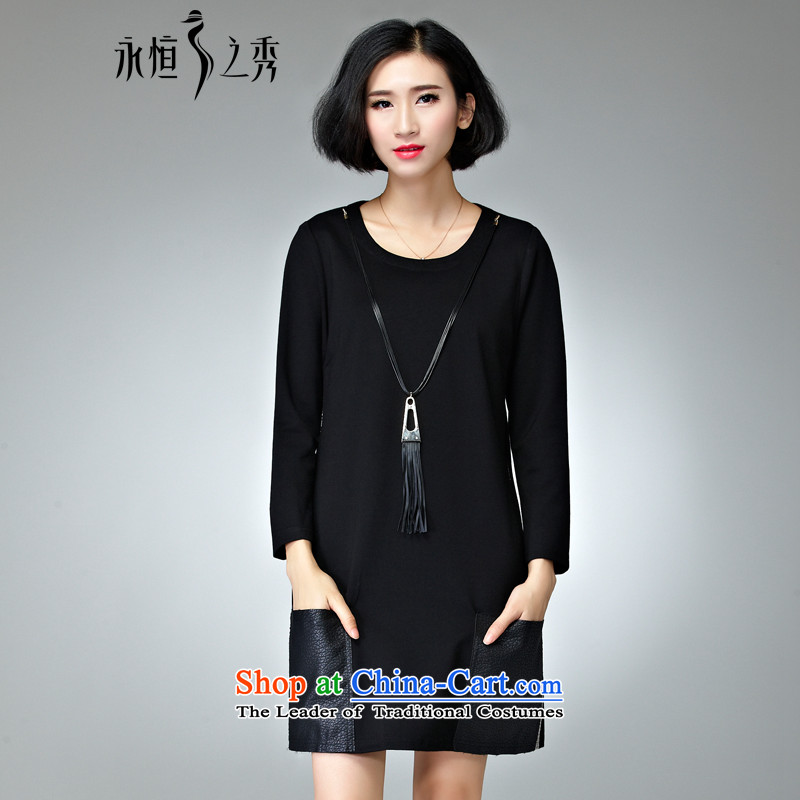 The Eternal-soo to xl women's dresses 2015 Fall_Winter Collections of new products on the Korean version of SISTER mm thick, Hin thin long-sleeved T-shirt, autumn and winter dresses�L black