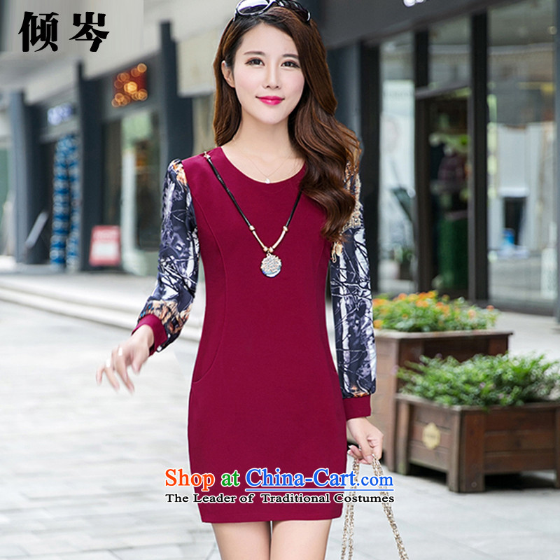 In the winter of 2015, Shum dumping new women's thick MM to xl stylish temperament stitching gross stamp? The lint-free thick dresses 881# wine red XXXXL recommendations 138-148 catty