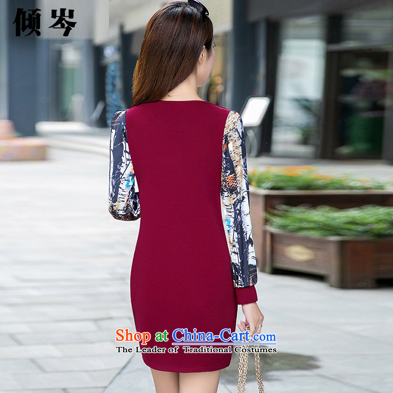 In the winter of 2015, Shum dumping new women's thick MM to xl stylish temperament stitching gross stamp? The lint-free thick dresses 881# wine red XXXXL recommendations 138-148, dumping Cen (QINGCEN) , , , shopping on the Internet