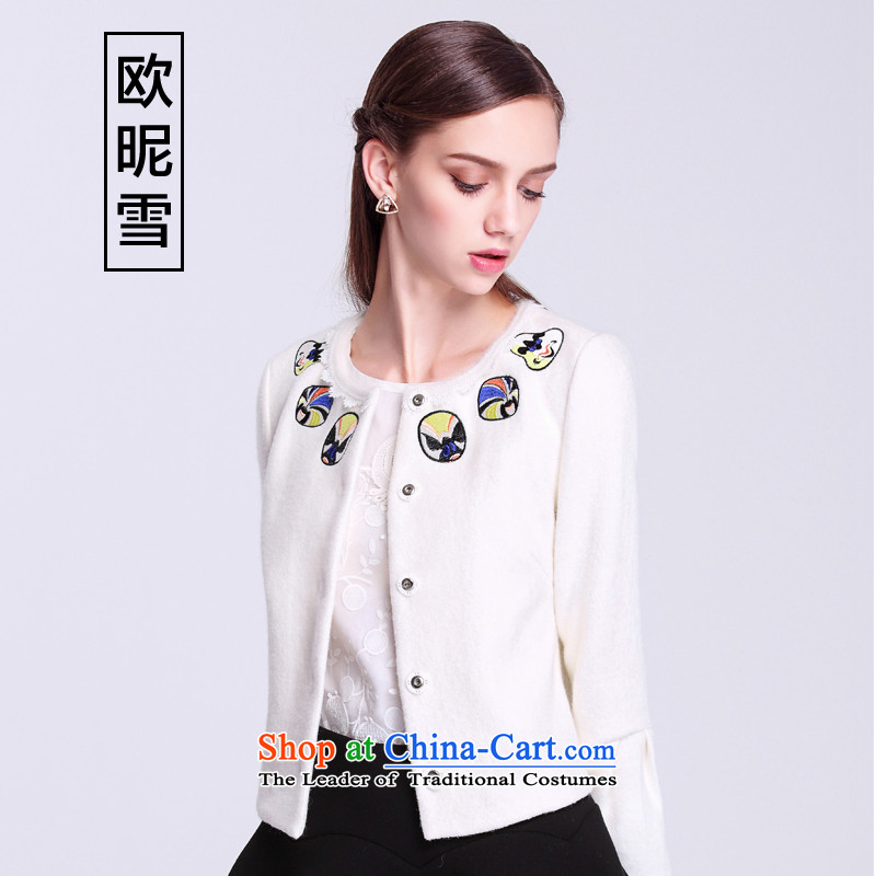 The OSCE nickname snow fall 2015 replacing the new Korean jacket Sau San heavy industry embroidery long-sleeved jacket is short of female winter white燣