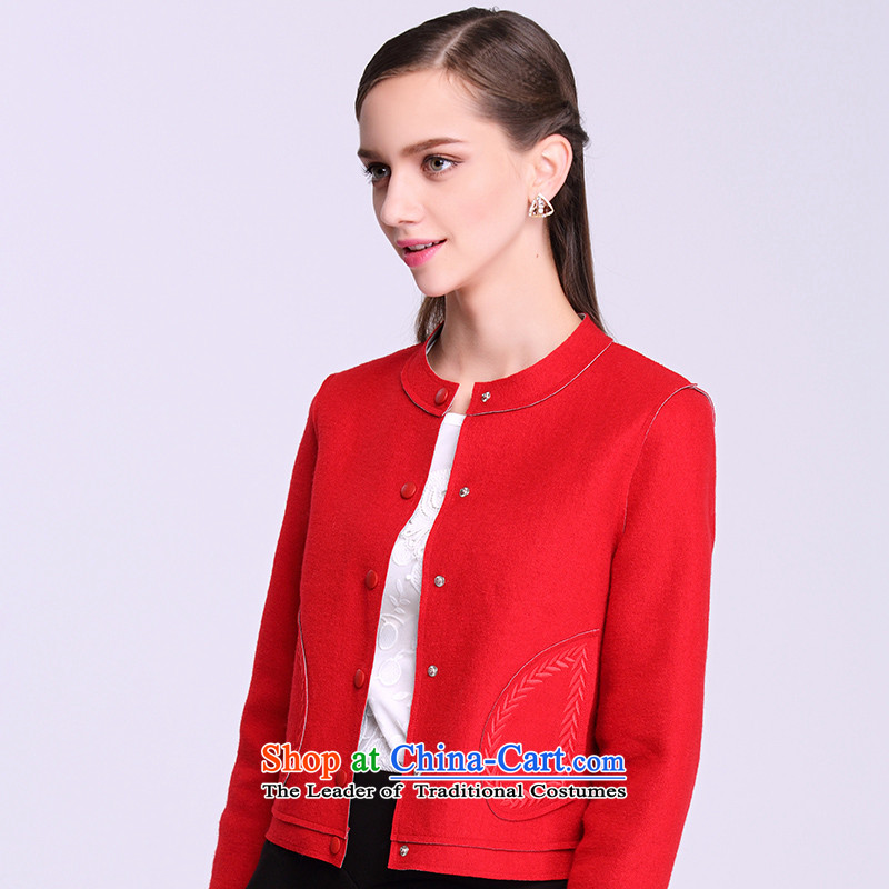 Europe 2015 autumn and winter snow young new minimalist wild in Europe and a long-sleeved trendy shoulder short of female red jacket??M
