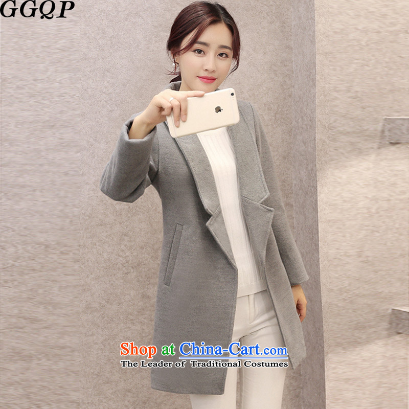 2015 Fall_Winter Collections GGQP Korean version of the new Sau San a wool coat female suits for women in gross? jacket long gray燲L