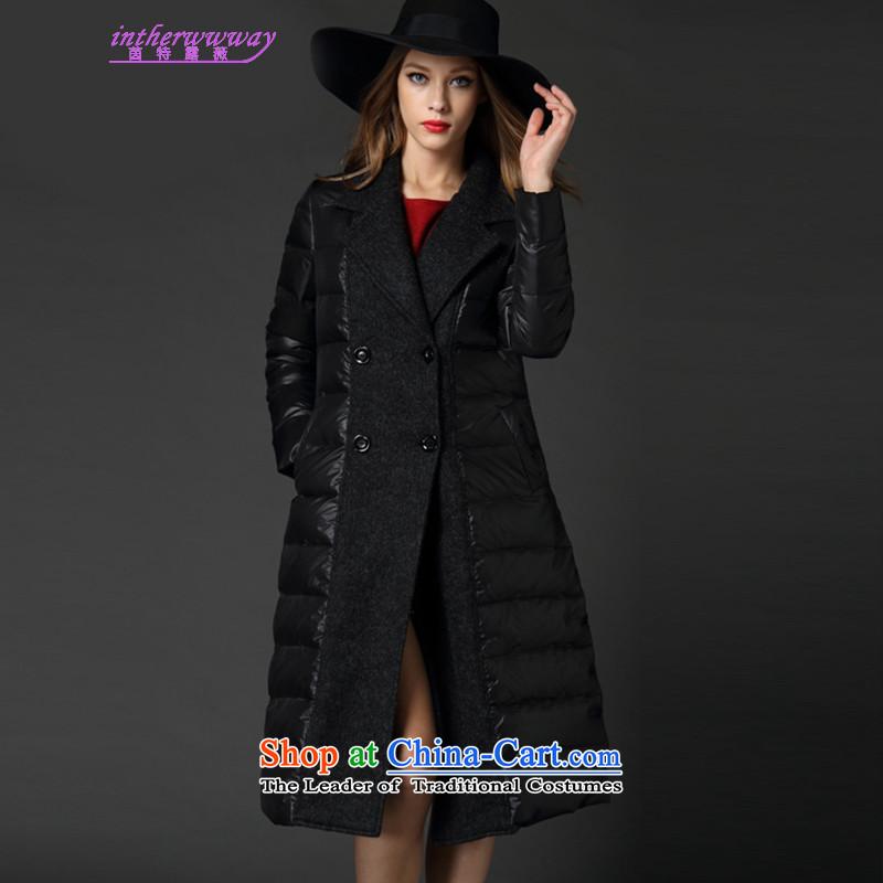 The Hon Audrey Eu Yuet-terrace, Athena xl female jackets winter2015 new temperament long black, Sau San downcoat female warm coat black large 5XL code around 922.747 200