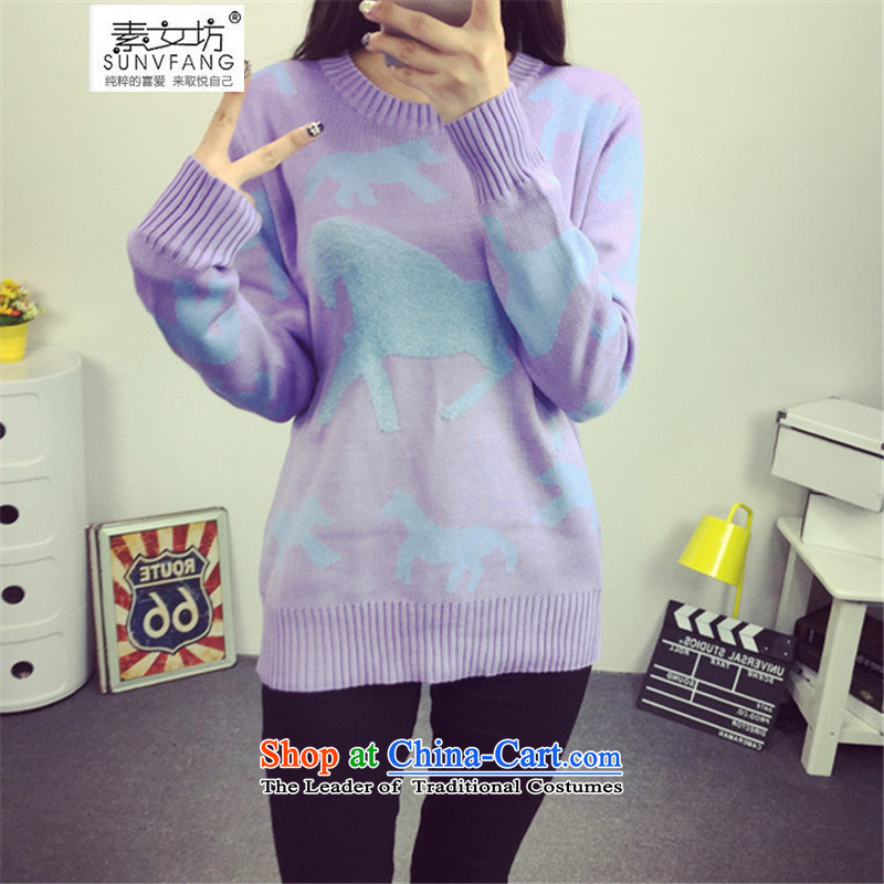 Motome workshop for larger female thick sister Autumn and Winter Sweater 2015 autumn and winter extra-thick MM Liberal Women's thin knitting sweater graphics thick 2183 Violet 2XL recommendations 140-170 catty