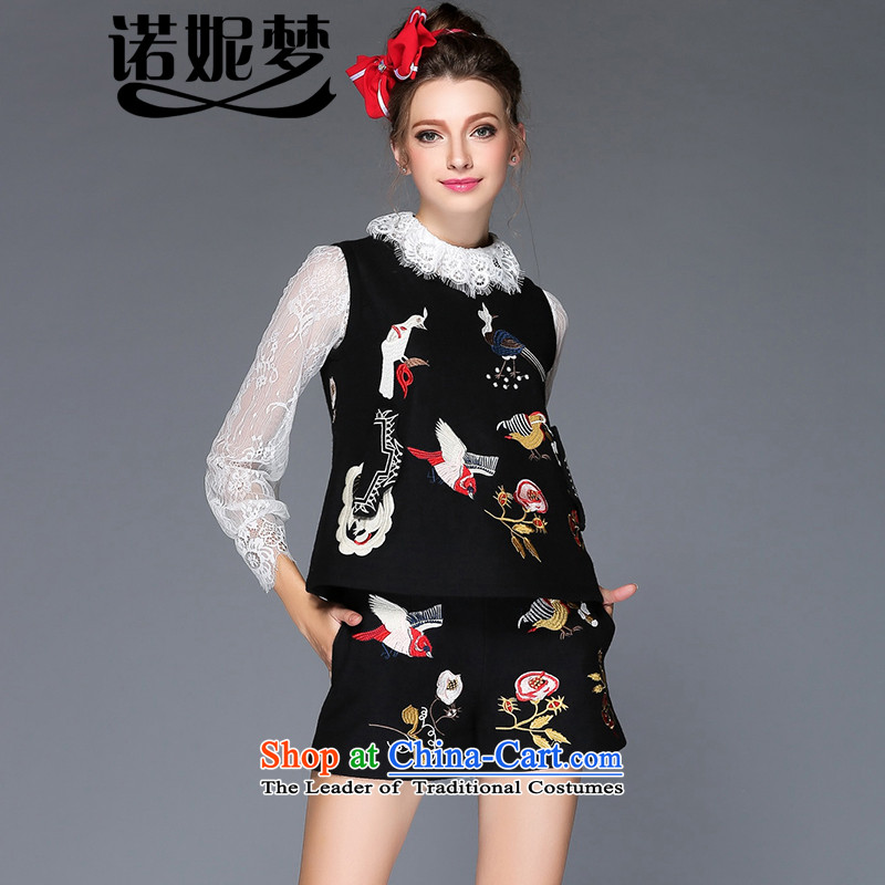 The new 2015 Dream Connie high-end large Western women fall to increase expertise in mm stylish package bird gross? embroidery sleeveless two kits G209 XXXL black