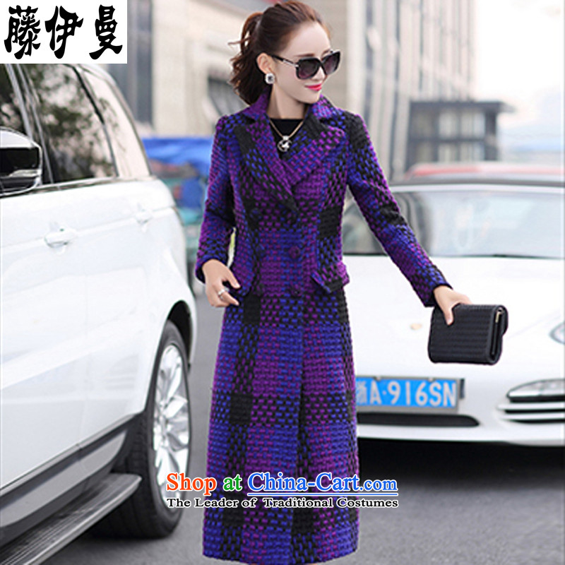 Takuma Sato, 2015 autumn and winter, women's gross female Korean jacket? lapel of long-sleeved extra long, thin grid graphics Sau San wild a wool coat temperament windbreaker purple L