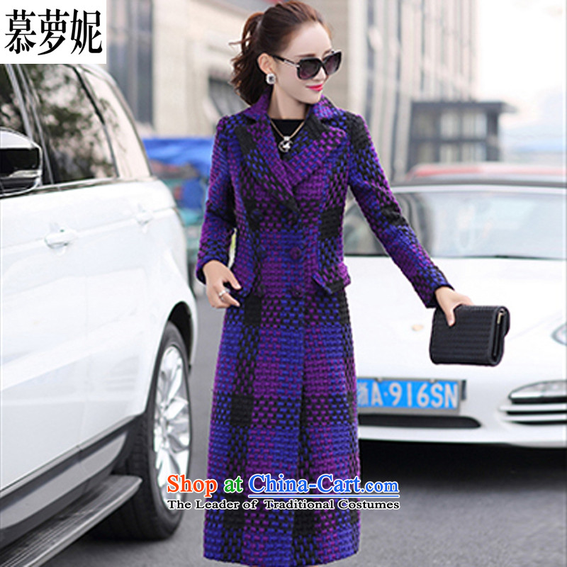 The 2015 winter coats Connie Kahlo's large relaxd stylish coat to the British American casual lapel large compartments long-sleeved thin extra-long video    , the Laptop purple coat? gross XL