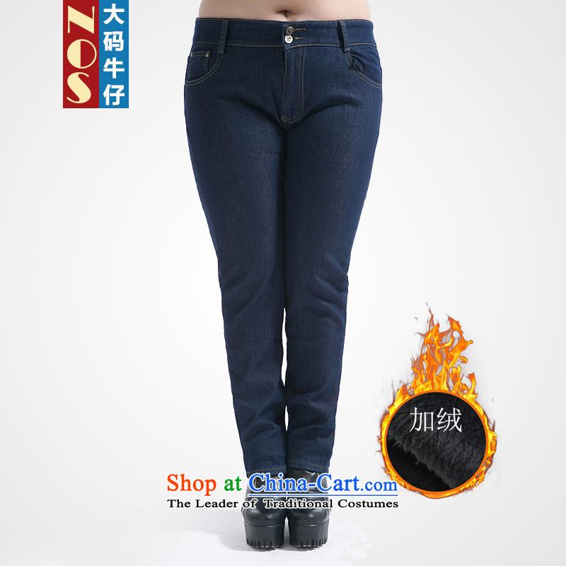 Nos爈arger women to increase expertise mm plus lint-free jeans warm winter cowboy castor trousers Y66661 Sau San Blue�