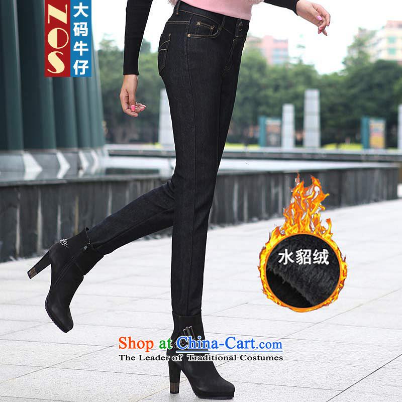 燭he Korean version of the video   NOS thin solid color jeans the lint-free thick thick king sister jean pants woolen pants Y66661 black�