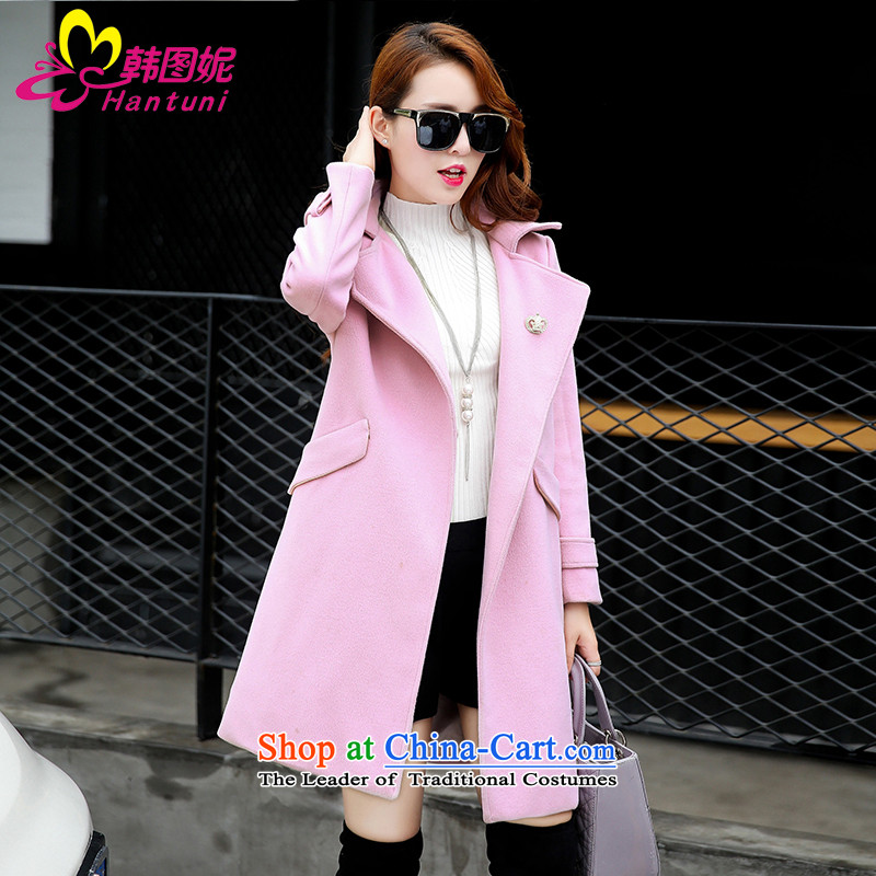 Korean figure Connie autumn and winter 2015 Ms. new gross? Long won the case of small wind-version pink wool a wool coat female Sau San larger female Thick pink coat?燤