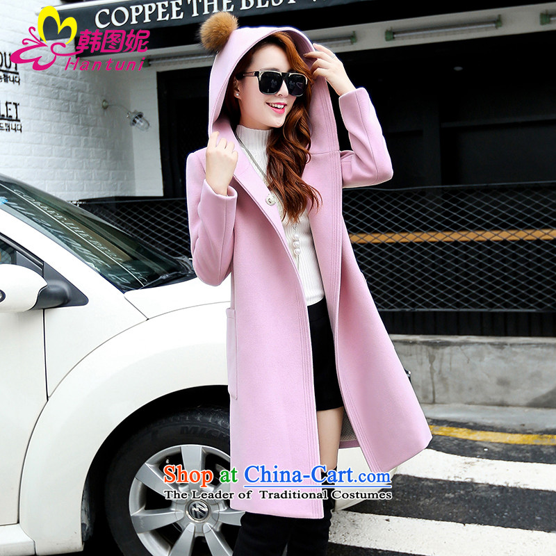 Korean figure Connie autumn and winter 2015 new products in the jacket can Ms. gross long coats Korean version of this small wind Sau San with cap-wool coat thick video thin? a wool coat pink燤