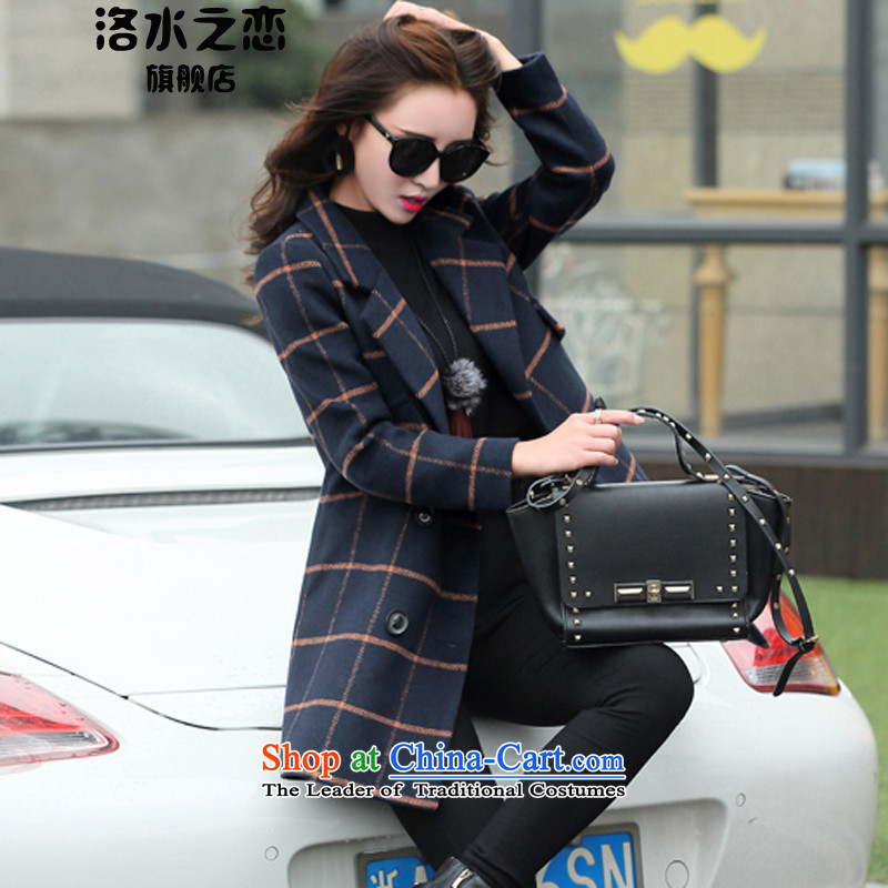 The water of the gross coats female 2015 Autumn? for women of autumn and winter stylish large segments of the Korean version of licensing gross Sau San? female orange gridM coat