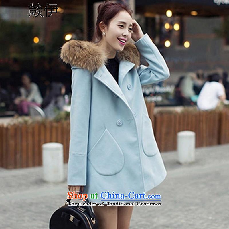 2015 Autumn, lest we gross double-jacket Korean version of long overcoat suy549_ female light blue?L