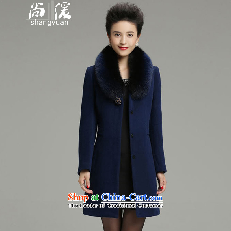 Yet 湲 winter clothing new 2015 non-Cashmere wool washable wool coat fox female Korean Sau San Mao jacket blue  3XL135-145 burden?