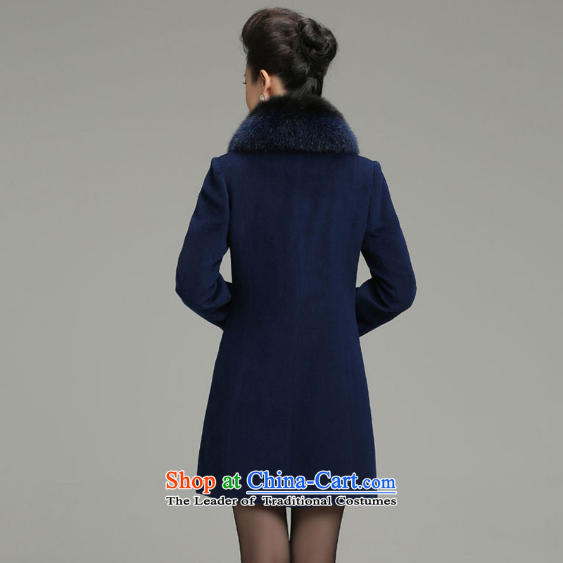Yet 湲 winter clothing new 2015 non-Cashmere wool washable wool coat fox female Korean Sau San Mao jacket blue 3XL135-145?, yet 湲 shopping on the Internet has been pressed.