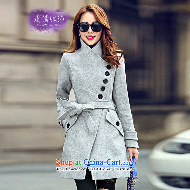 Yu Chien YQ 2015 autumn and winter new Korean version of the long graphics thin hair? female Sau San tether jacket collar a wool coat Y306 GRAY燤
