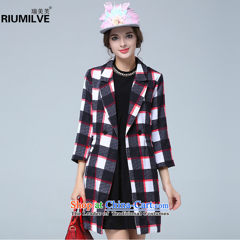 Rui Mei to爈arge 2015 Fall_Winter Collections for women to new xl stylish, classy and latticed Sau San in long wind jacket N1625 picture color�L