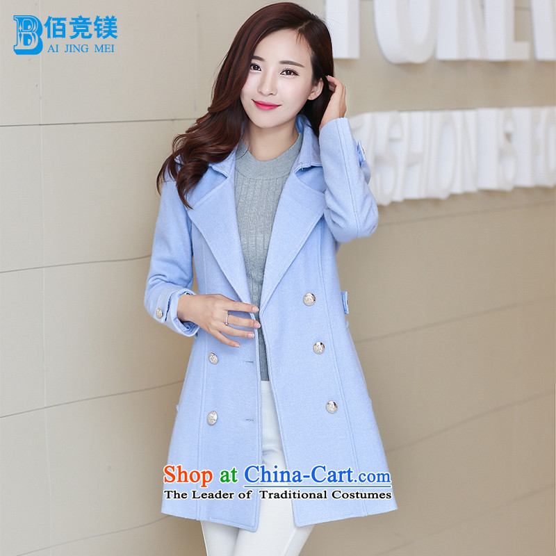 Bai bidding disarmament autumn and winter new gross girls jacket? Long pure color a wool coat Korean female graphics thin Sau San? coats female light blue?L