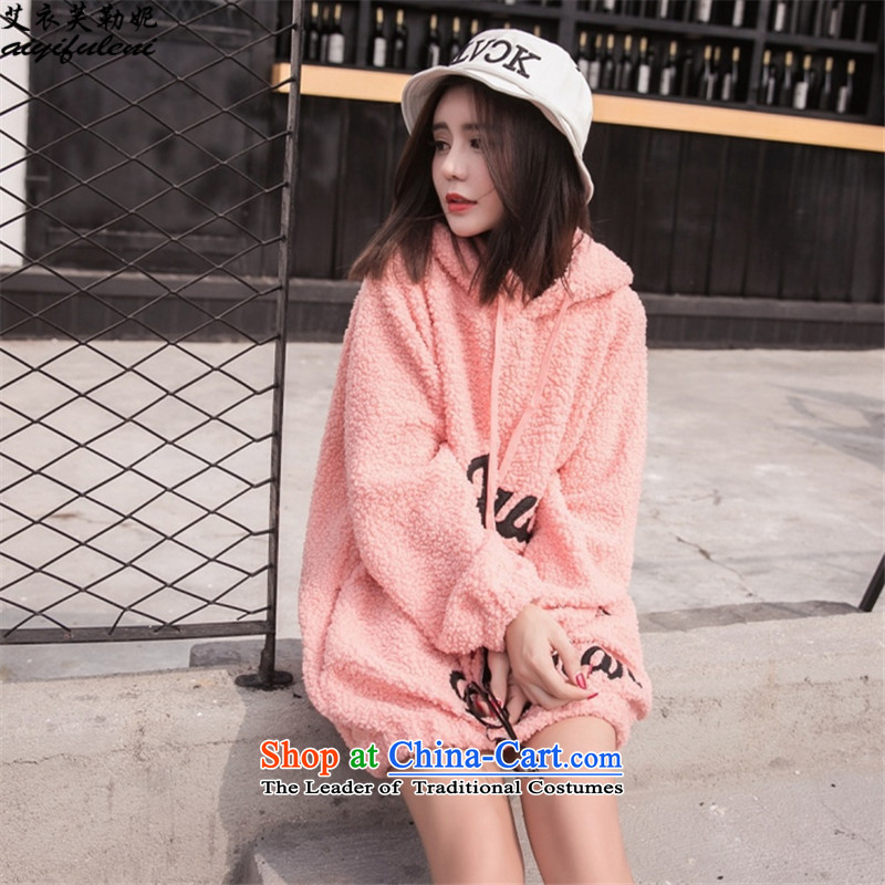 To increase the number of women in the medium to long term sweater, plus lint-free with cap, jacket Fall_Winter Collections pink�L