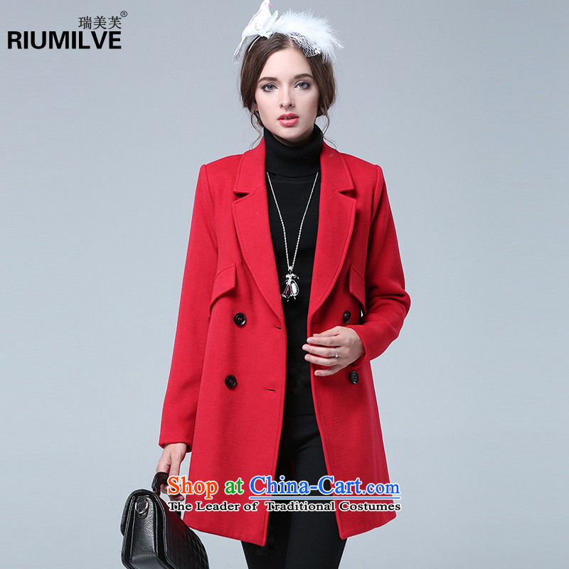 Rui Mei to爈arge 2015 Fall_Winter Collections for women to new xl pure color jacket coat gross premium? N1329�L red
