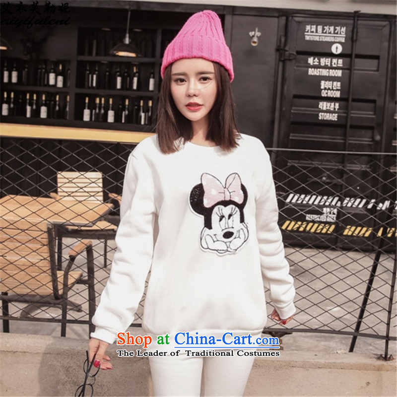 To increase the number of ladies sweater pants, forming the two kits for autumn and winter by replacing the thick wool leisure, sports wear white 5XL