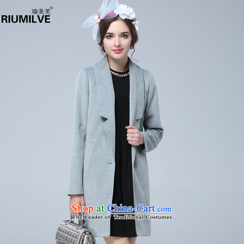 Rui Mei to爈arge 2015 Fall_Winter Collections for women to increase the new liberal larger twill gross Wind Jacket coat? In long N1321�L Light Gray