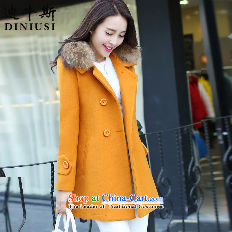 The achievement of the2015 autumn and winter new Korean Couture fashion in gross? jacket Sau San long hair for coats female ore?XXXL yellow