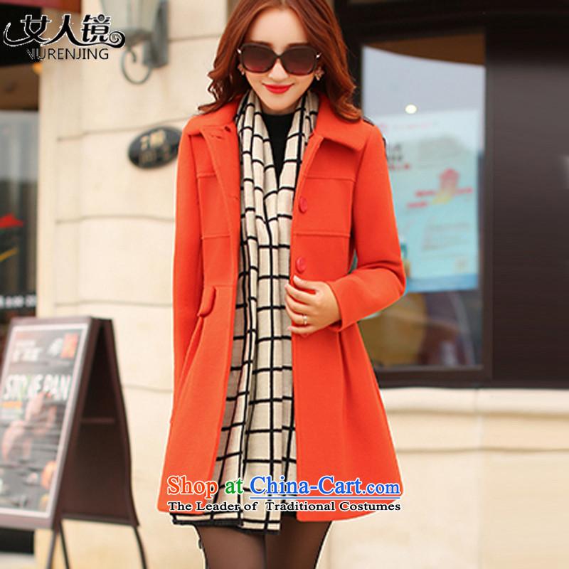 2015 winter clothing new gross girls jacket? Long a wool coat N5048 ORANGE燲L