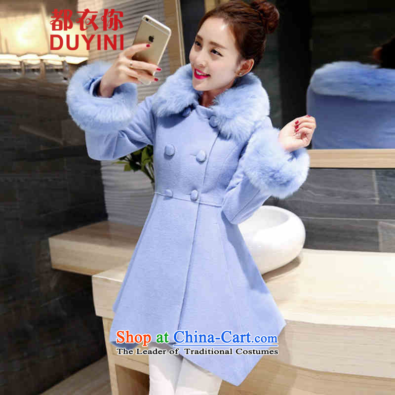 Are You Yi Girls in gross? jacket long wave autumn and winter 2015 winter clothing new Korean women's gross for coats DYN581? aqua-blue XL