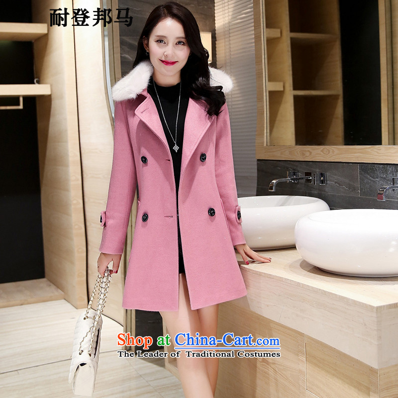 Resistant to log Pong horsehair coats, long爓inter 2015 new Korean lapel of Sau San Mao jacket female leather toner?燲L