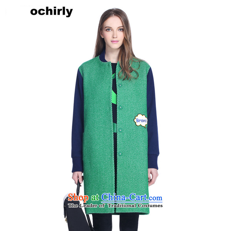 When the Euro 2015 Power ochirly new female winter clothing cartoon stitching in long baseball? jacket 1154340250 gross green Xs(155/80a) 510