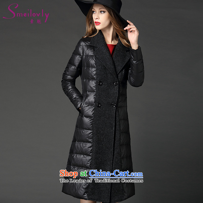 The Director of the Europe and women XL 2015 winter clothing new stylish mm thick stitching wild in the thick long warm downcoat�58燘lack pre-sale 25 shipping large 3XL around 922.747 160