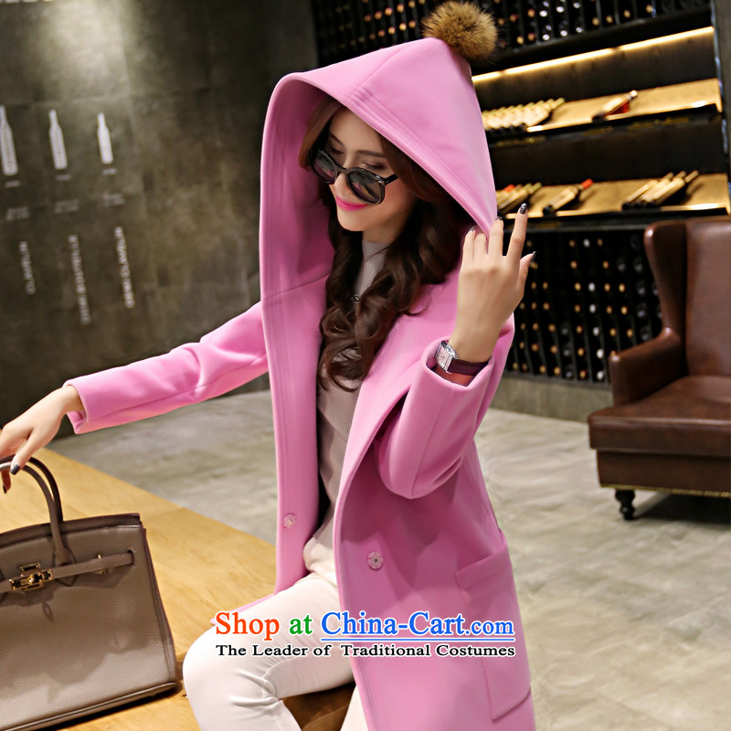 Sin has been gross? 2015 winter coats female new Korean version of a cashmere overcoat thick double-side coats female pink聽  M