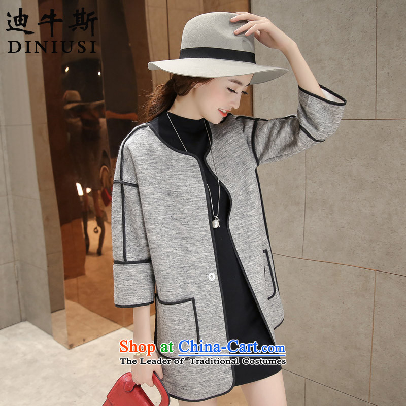 The achievement of the 2015 autumn and winter new Korean modern small-quality culture of Sau San Mao jacket? gray?XXL
