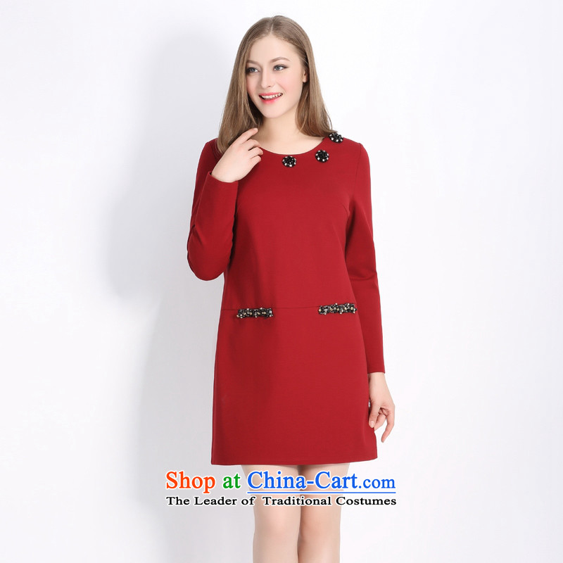 2015 Autumn picking more large female thick MM diamond, the floral decorations of the stylish dresses Q1273 wine red large XL