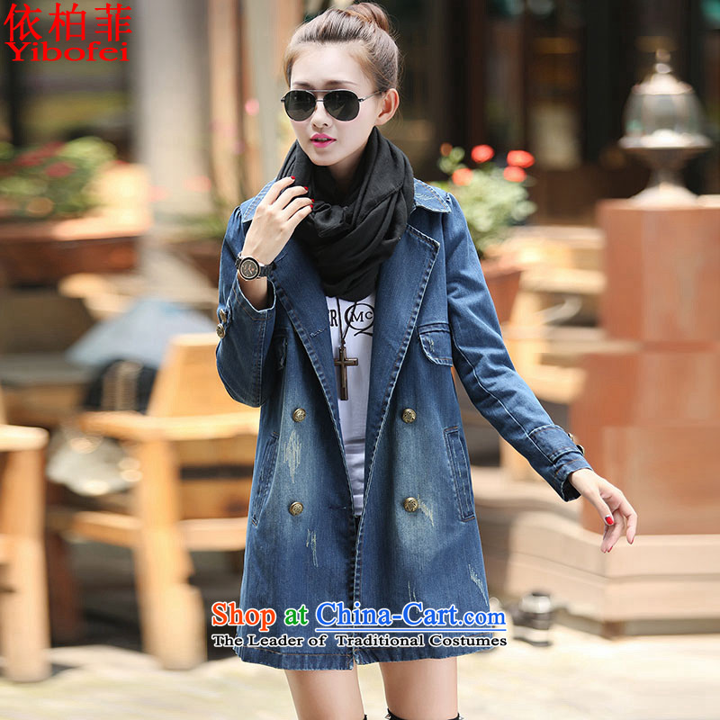 In accordance with the perfect 2015 autumn and winter new to increase women's code mm200j catty loose in thick long cowboy Y2605 blue XXXXXL Jacket