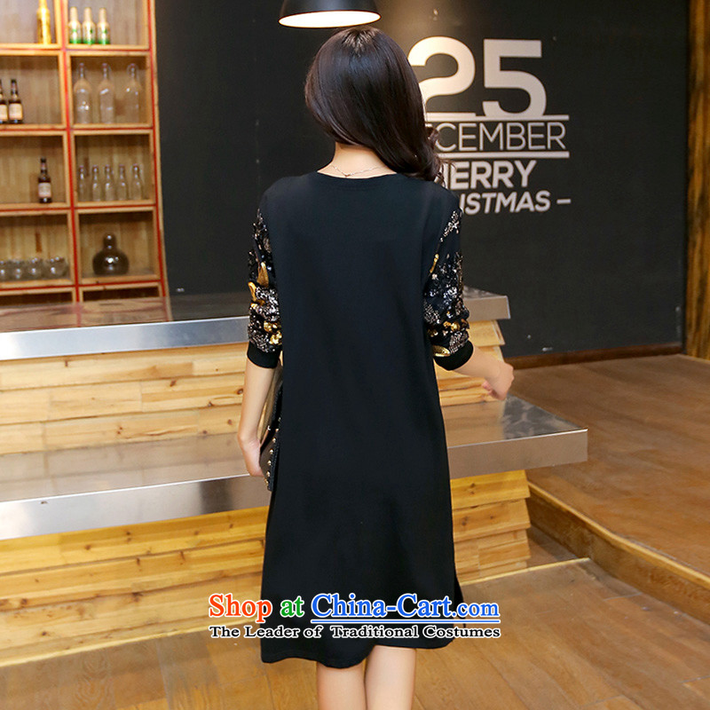 Yu's sin for 2015 autumn to load new xl female thick mm loose video in long on thin film chip beads dresses female black 2XL 125-145 recommends that you, Yu's sin (yuerxianzi) , , , shopping on the Internet