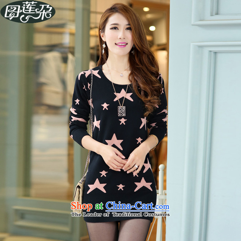 Figure Lin flower 2015 autumn and winter new larger female Korean version of long knitting sweater knit coated female stars are black toner Y1851 code