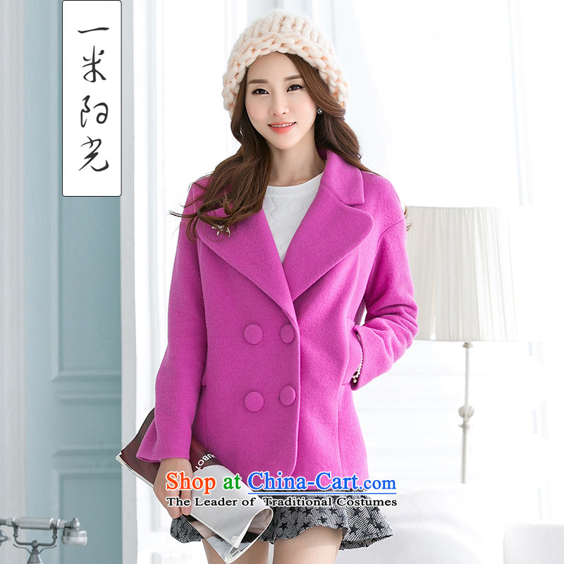 One meter Sunshine� 2015 winter clothing new gross? female Korean jacket small incense wind Sau San a woolen coat female purple燬