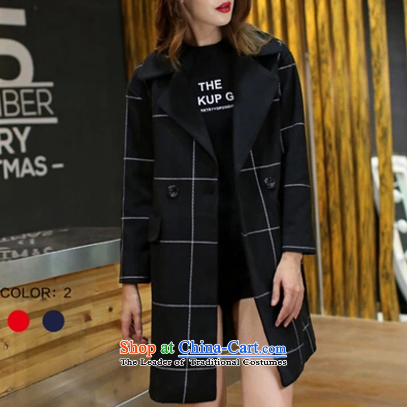 Thick sister 2015 autumn and winter new larger female latticed windbreaker girl in MM thick long thin hair? Jacket Graphics Black 5XL