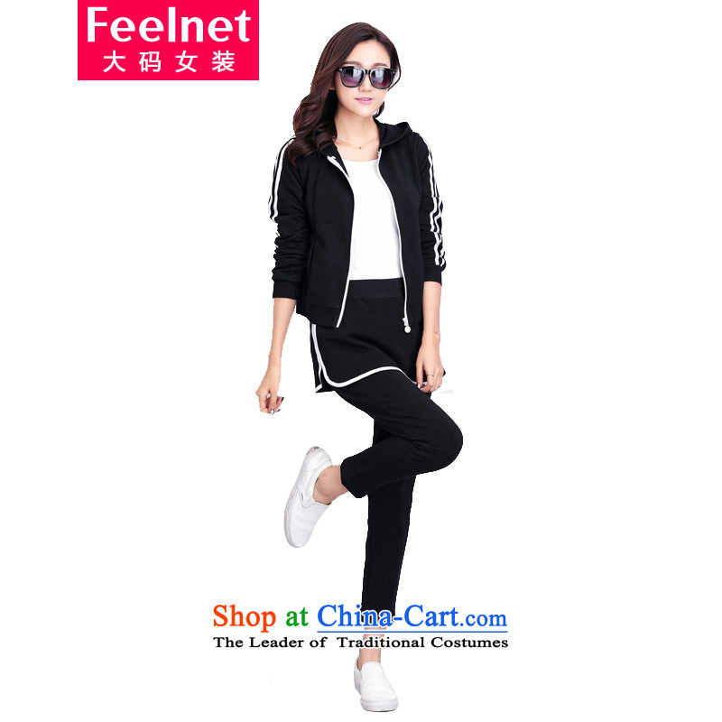 Load the autumn 2015 FEELNET winter thick mm version won thin to xl female xl jacket leisure wears black 3XL 1822 code