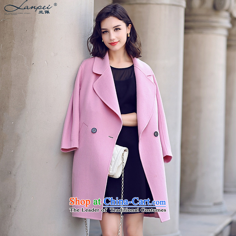 Estimated Pei-sided wool coats that long? female wool coat the auricle-straight hair? Korean female jacket pinkM