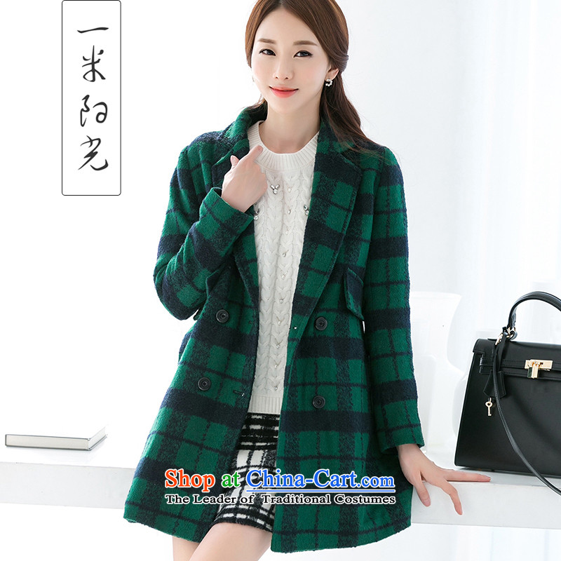 One meter Sunshine�15 Women's autumn and winter NEW SUB European site   Ni latticed gross girls coat? long jacket, green燣