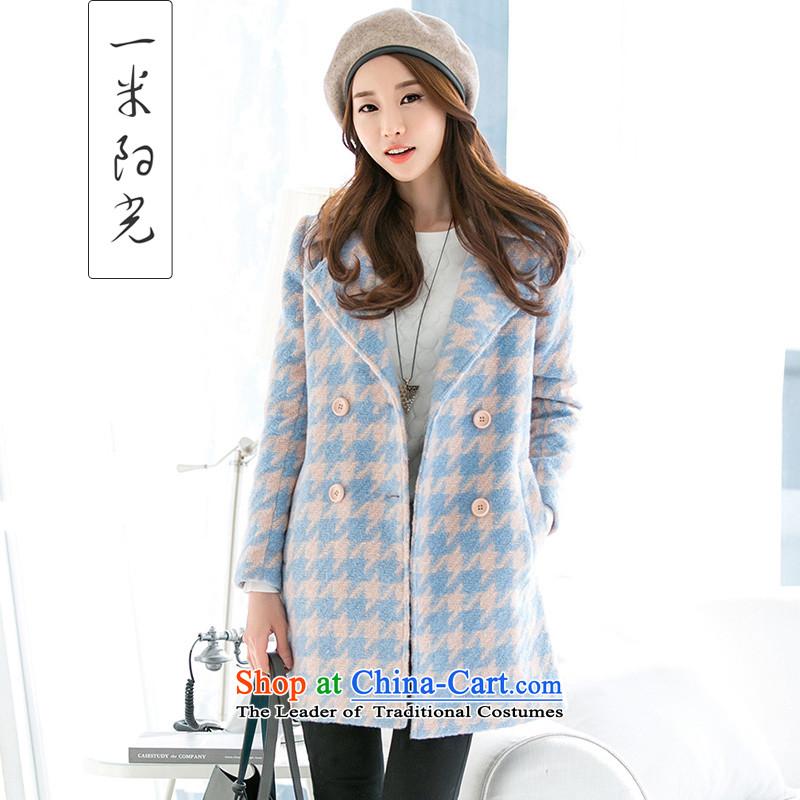One meter Sunshine2015 autumn and winter new women's double-ni-jacket coat version won long Chidori-thick hair? coats of female pink chidori gridM