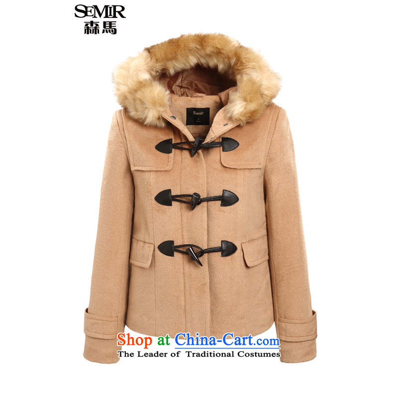 Sum horsehair jackets for爓inter 2015 Ms. new cap coats leisure pure colors? Straight Jacket Korean and color 5100 L